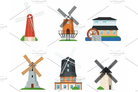 Traditional Old Windmill Buildings On White Set