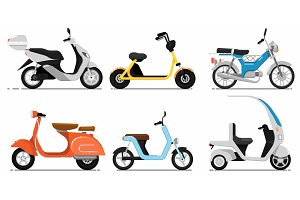 Vintage and modern scooters set