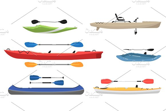 Side View Kayaks With Paddles Set