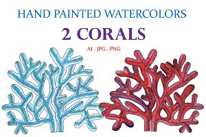 Hand Painted Watercolors 2 Corals