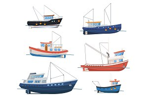 Fishing boats side view on white background