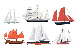 Sea sailboats side view on white background