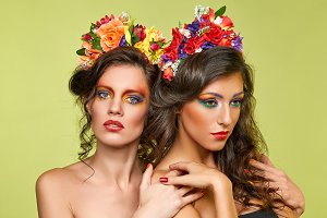 beautiful girls with flower accessories