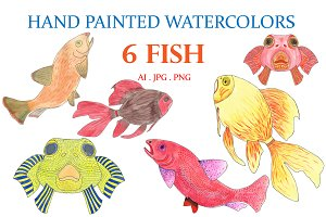 Hand Painted Watercolors 6 Fish