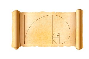 Papyrus scroll with golden ratio