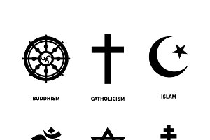 Set of most common religions symbols