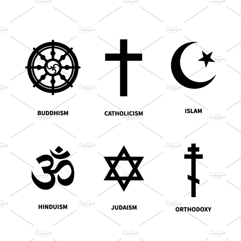 Set Of Most Common Religions Symbols Objects Creative Market