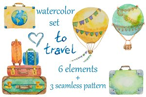 Watercolor set about travel