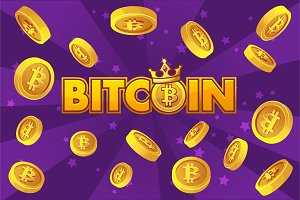 LOGO BITCOIN and gold coins on violet background, cryptocurrency explosion