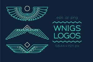 Set of linear style wings logos