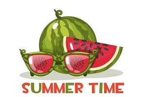 Watermelon and glasses. Hello Summer time, vector illustration