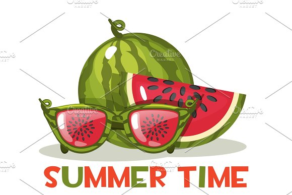 Watermelon And Glasses Hello Summer Time Vector Illustration