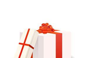 White gift boxes with red tapes