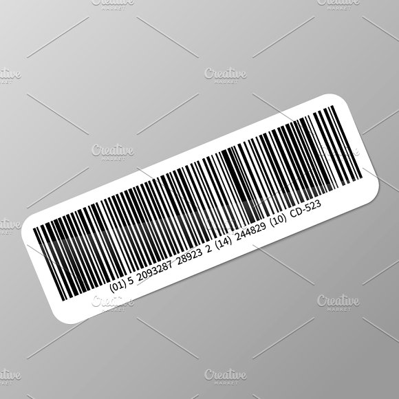 Typical realistic barcode sticker