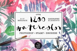 1200+ Watercolor PS Stamp Brushes
