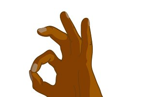 Cartoon black hand in OK gesture