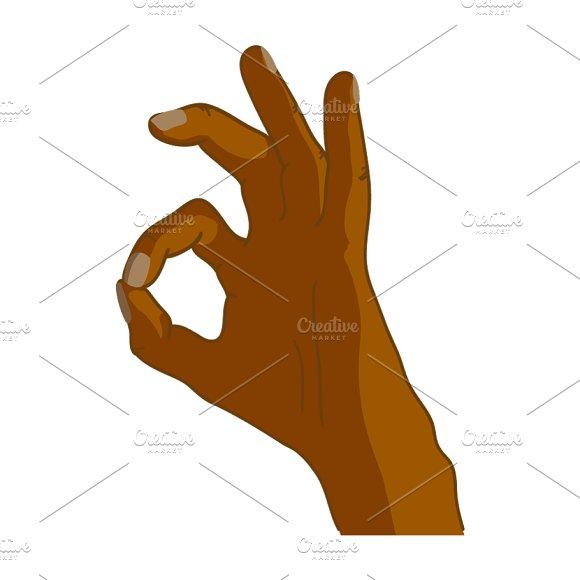 Cartoon Black Hand In OK Gesture