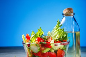 Bowl of salad with fresh vegetables