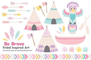Girls Tribal Vectors & Clipart