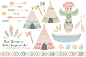 Pretty Tribal Clip Art & Vectors