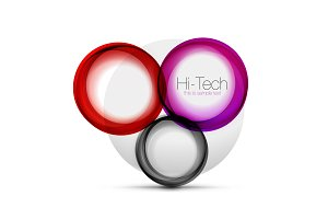 Circle web layout - digital techno spheres - web banner, button or icon with text. Glossy swirl color abstract circle design, hi-tech futuristic symbol with color rings and grey metallic element