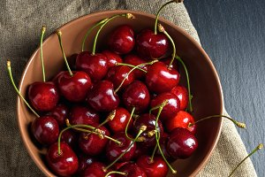 Sweet cherry in bowl