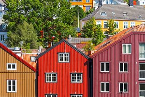Colorful houses in Trondheim, Norway