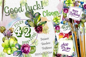 Clover PNG watercolor set