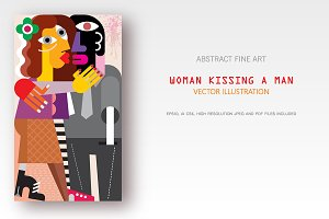 Woman Kissing a Man vector artwork