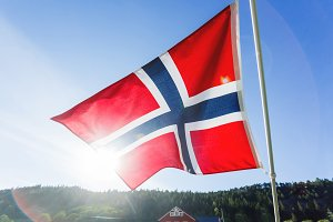 Norway flag in sunny day