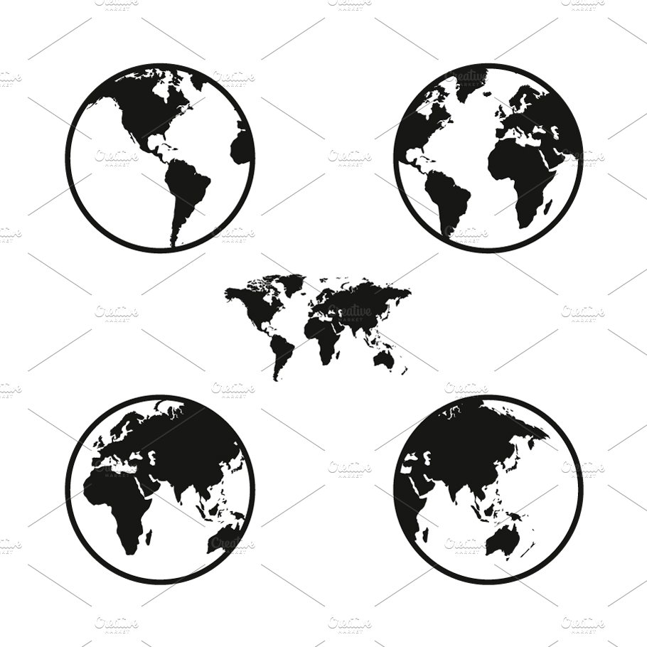 World map on globe icons objects creative market gumiabroncs Image collections