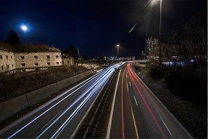 High way light painting