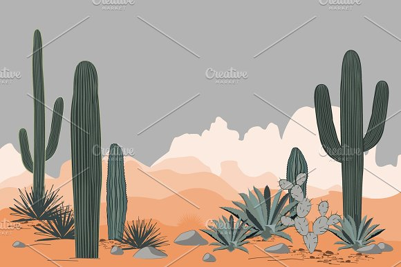 Mexico Pattern With Opuntia Agave And Saguaro Cacti Mountains Background
