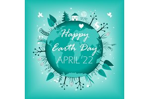 April 22 banner. Happy Earth Day card design. Vector illustration