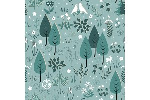 Spring pattern with birds, flowers, and trees. Gentle spring forest background