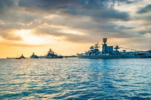 Military navy ships in a sea