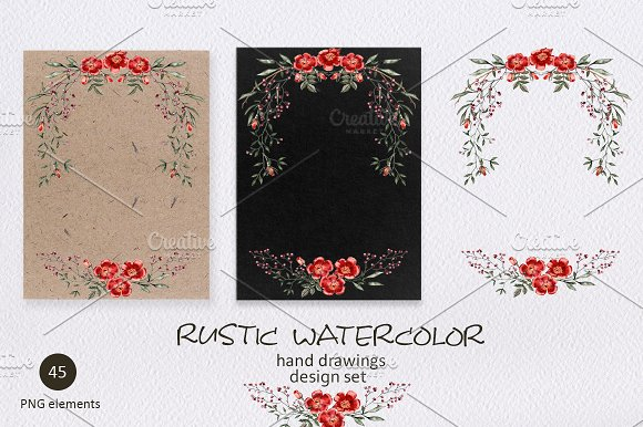 Rustic Watercolor Objects Creative Market