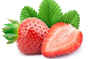 Strawberries with leaves isolated on white