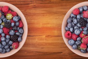 Plates with berries
