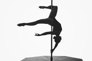 beautiful pole dancer girl silhouette