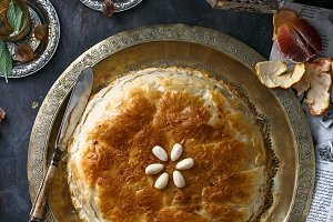 Phyllo pastry pie with chicken and spices. Arabian cuisine.