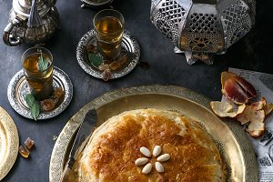 Traditional Moroccan pie pastilla with mint tea
