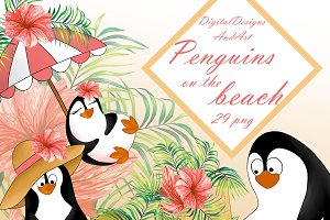 Summer penguins clipart
