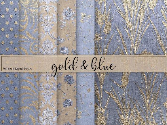 Gold Blue Textures Digital Paper