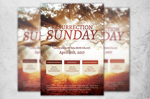 resurrection sunday church flyer flyer templates creative market