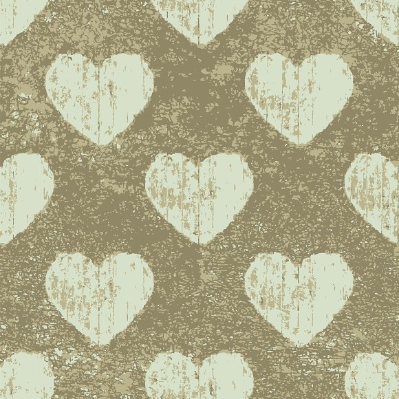 Grunge Hearts Seamless Pattern