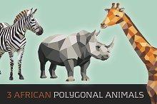 3 AfricanPolygonal Animals