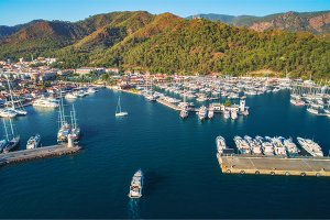 Aerial view of boats and yachts
