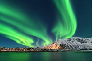 Aurora borealis. Lofoten islands