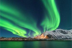 Aurora borealis. Lofoten islands